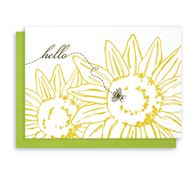 Bee and Sunflower Letterpress Notecards