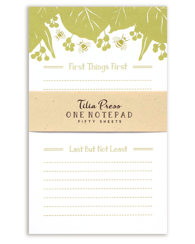 Linden Leaf and Bee Notepad