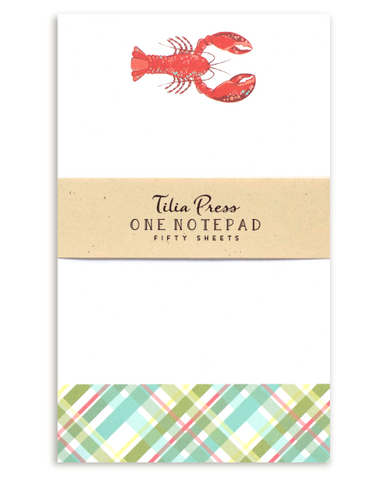 Notepad with red lobster design