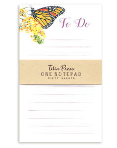 To Do List Notepad with a monarch butterfly