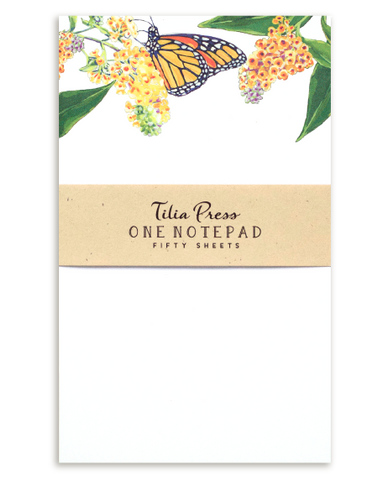 Notepad with Monarch Butterflies and butterfly bush