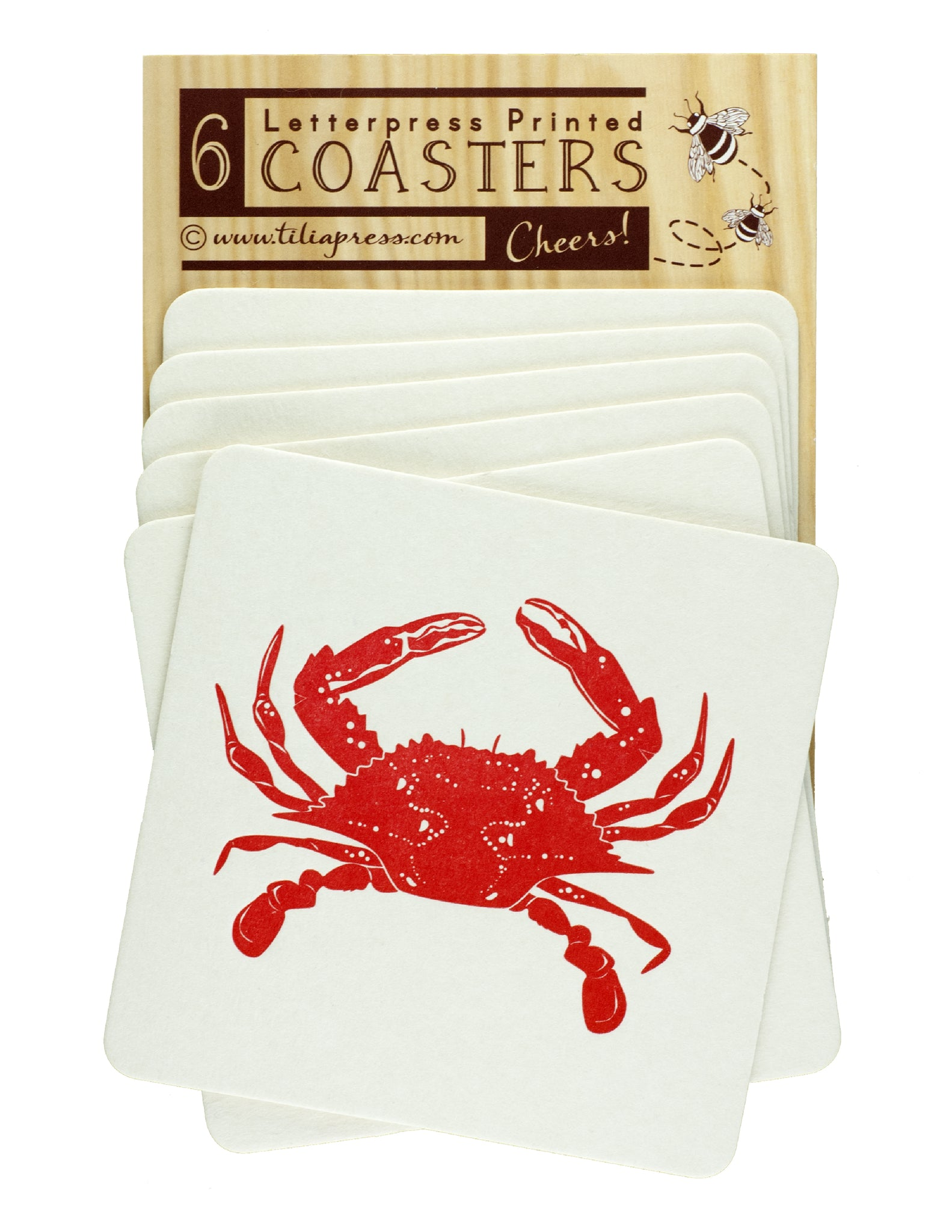 Red Crab Letterpress Coasters - Crab Feast, Beach Party, Birthday Coasters