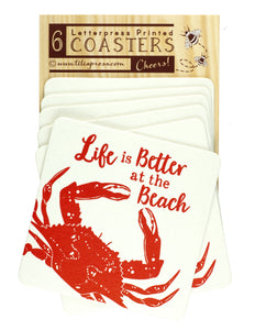 Life Is Better At The Beach - Red Crab Letterpress Coasters
