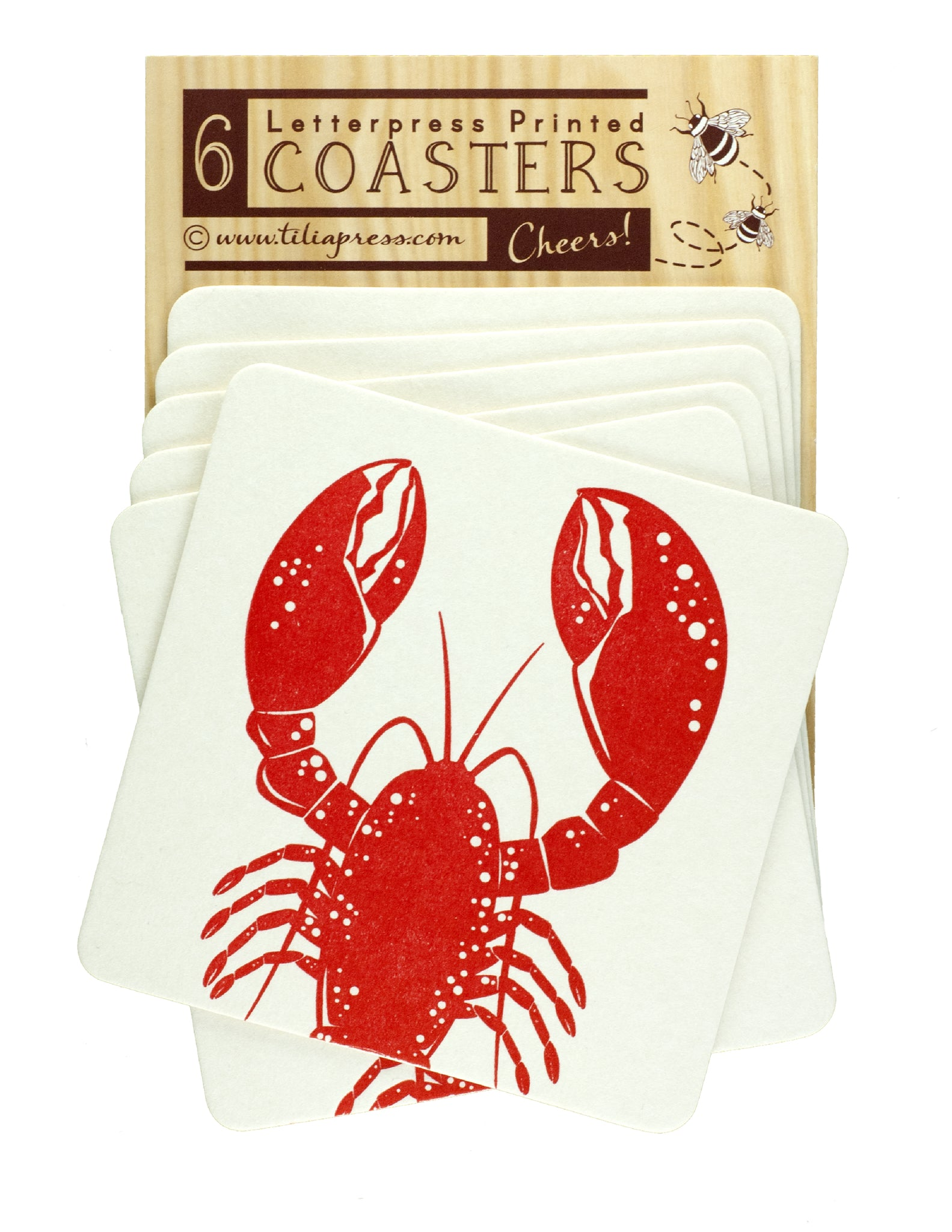 Red Lobster Letterpress Coasters - Beach party, lobster fest