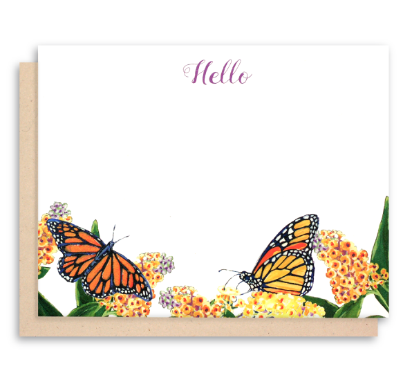 Monarch Butterfly and butterfly bush Note Cards - Hello