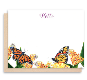 Monarch Butterfly Flat Note Cards - Hello