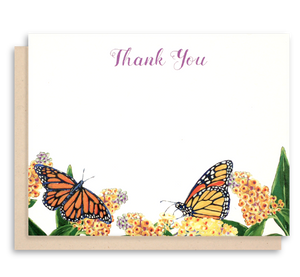 Monarch Butterfly Stationery - Flat Note Cards - Thank You