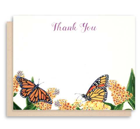 Monarch Butterfly Flat Note Cards - Thank You