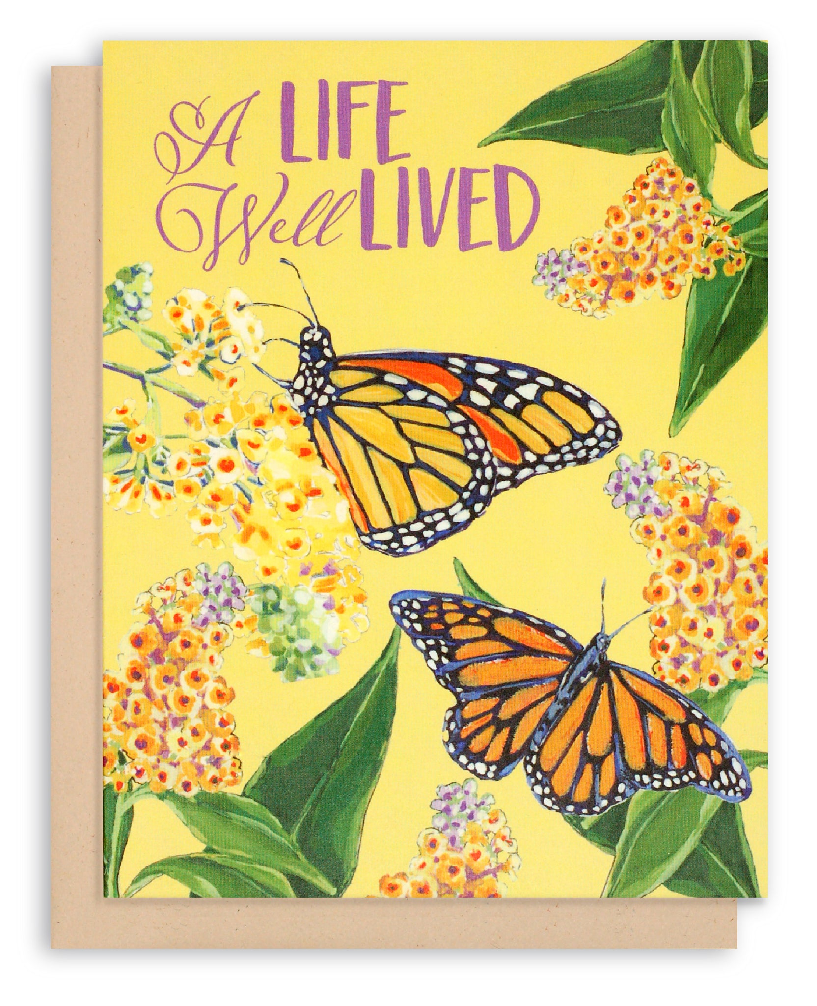Sympathy Card Monarch Butterfly Butterfly Bush Flowers