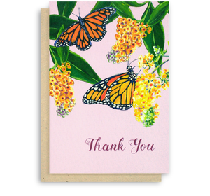 Monarch Butterfly Thank You Card Butterfly Bush Flowers