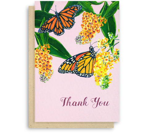 Monarch Butterfly Thank You Card with Purple Background