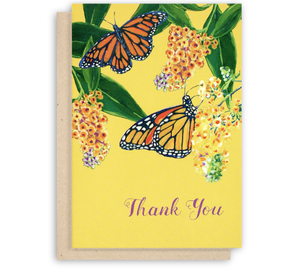 Monarch Butterfly Thank You Card Butterfly Bush Flowers Buddlea