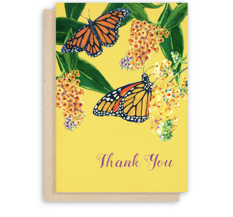 Monarch Butterfly Thank You Card with Yellow Background