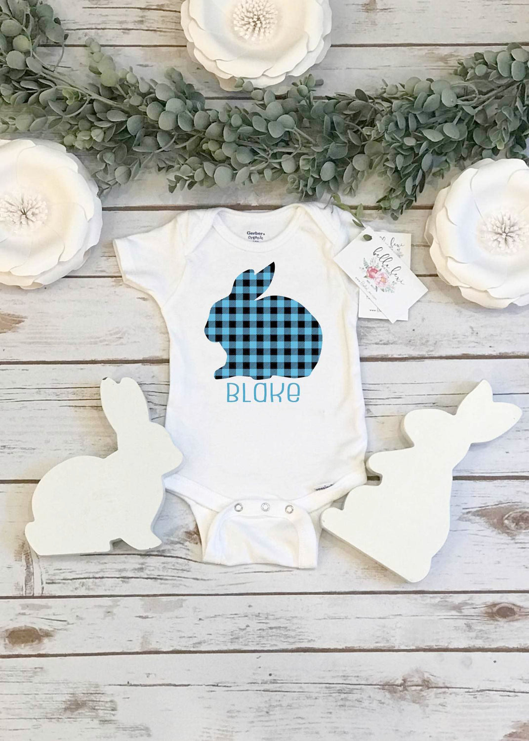 Easter Onesie®, Personalized Buffalo Plaid Bunny - Bella Lexi Boutique