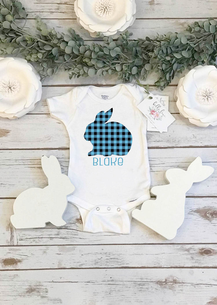 Easter Onesie®, Personalized Buffalo Plaid Bunny