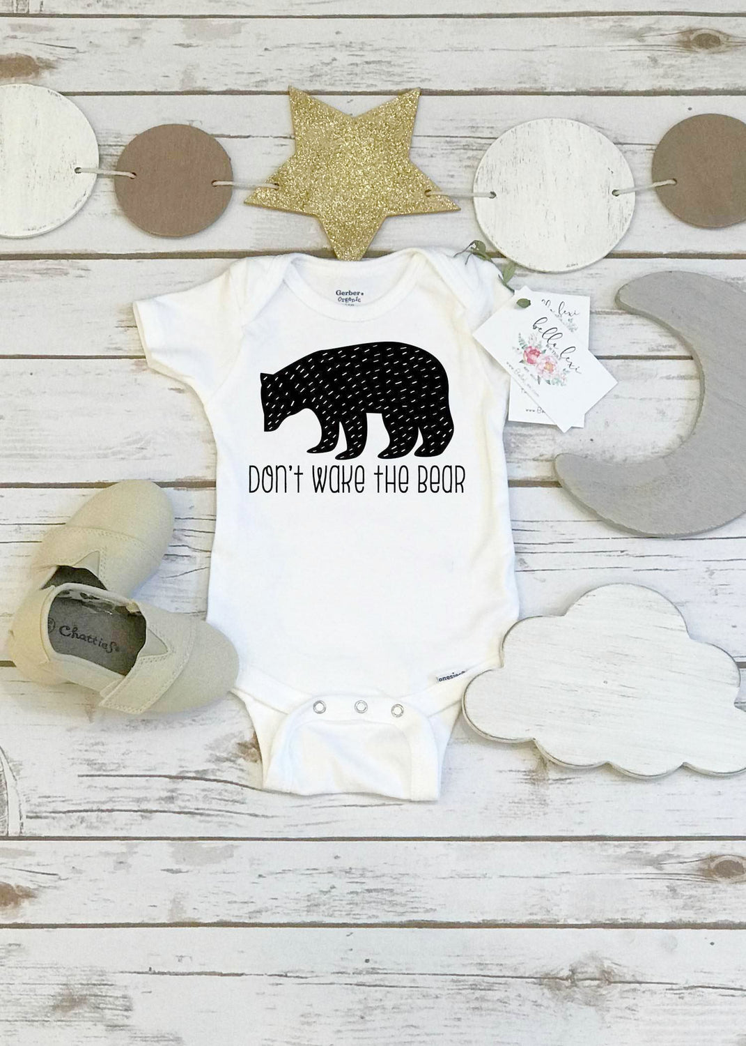 don't wake the bear, monochrome onesie