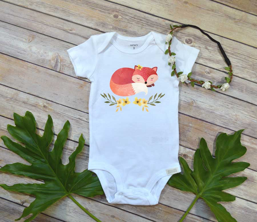Sleepy Fox shirt, Woodland Baby Theme, Baby Shower Gift, Fox Baby shirt, Baby Girl Gift - Bella Lexi Boutique