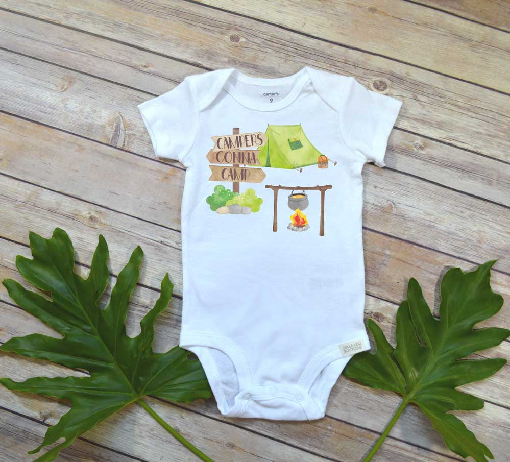 Camping shirt, Campers Gonna Camp, Funny baby bodysuit, Funny Baby Gift, Camping Baby - Bella Lexi Boutique