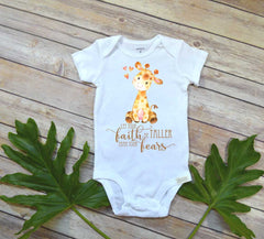 Cute Baby Gift, Let your Faith be Taller than your Fears, Baby Shower Gift, Newborn Baby Gift, Giraffe bodysuit - Bella Lexi Boutique