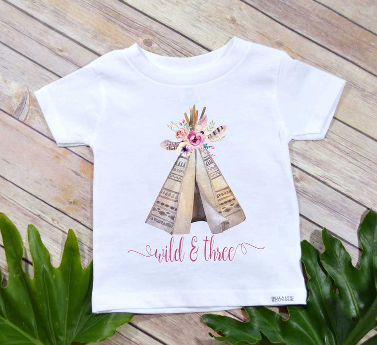 Wild and Three, Third Birthday, Girl Birthday shirt, Boho Party, Girl Birthday Shirt