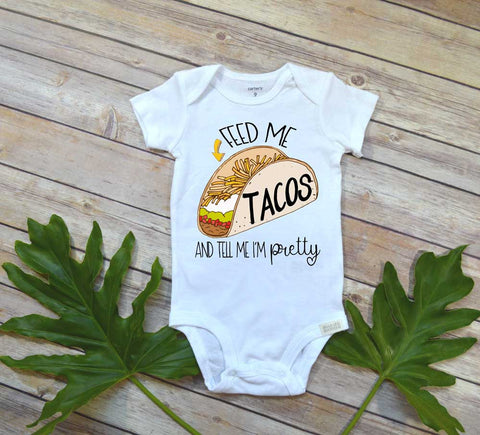Cute Baby Gift, Feed Me Tacos, Taco Tuesday Shirt, Baby Shower Gift, Cute Baby Shirt - Bella Lexi Boutique