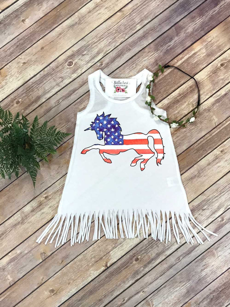 Labor Day Dress, Fourth of July Dress, Independence Day, Patriotic Unicorn, Fringe Dress