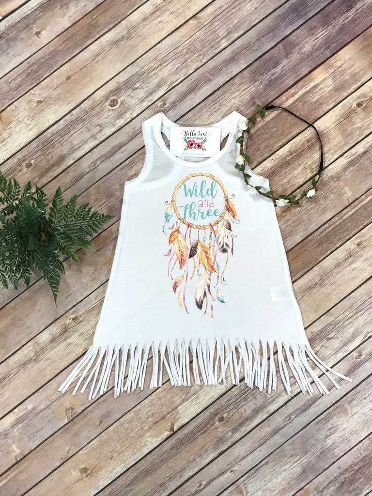 Third Birthday, Wild and Three, Girl Birthday Dress, 3rd Birthday, Fringe Birthday Dress - Bella Lexi Boutique