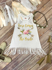 Here Comes the Bride, Flower Girl Dress, Boho Wedding, Beach Wedding, Flower Girl Outfit - Bella Lexi Boutique