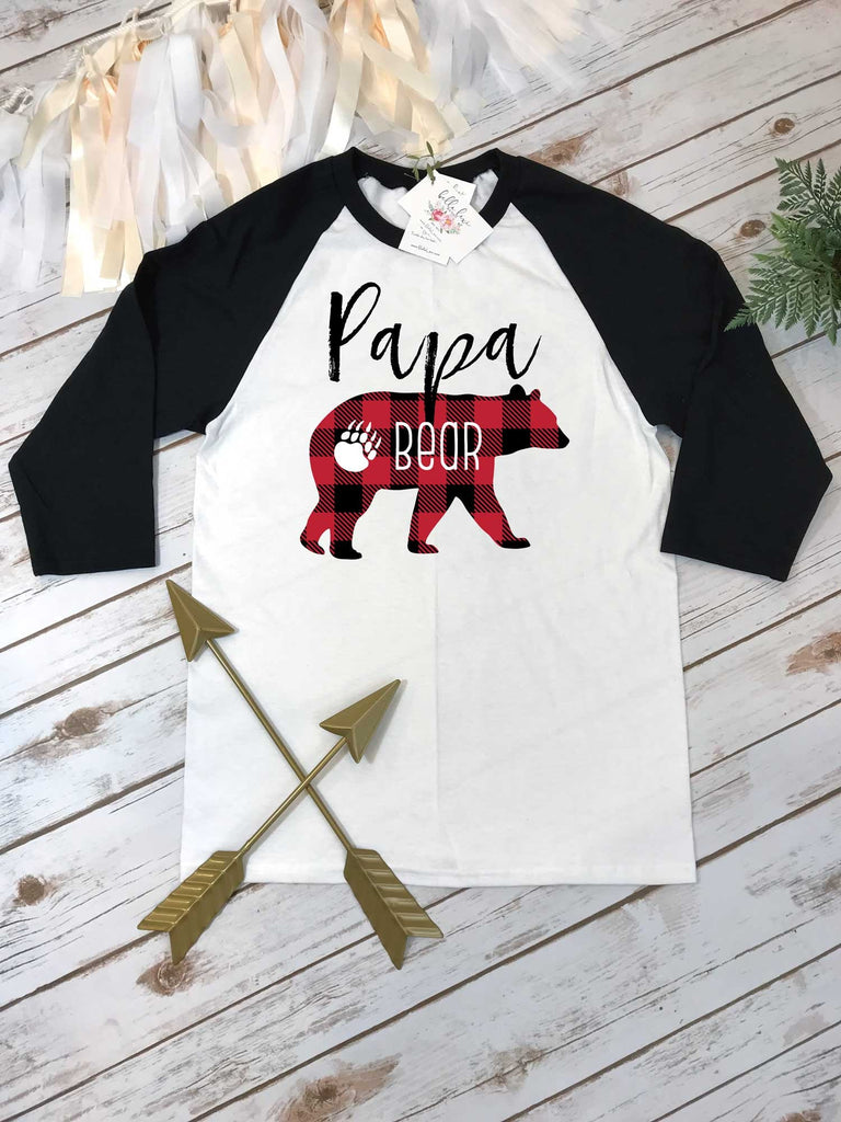 Papa Bear Shirt, Daddy and Me shirts, Buffalo Plaid Party, Buffalo Plaid Shirt, Raglan Shirt