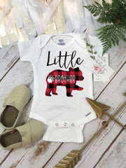 Little Brother Onesie®, Buffalo Plaid Bear, Brothers Shirts, Big Brother Bear Shirt, Buffalo Plaid Shirt