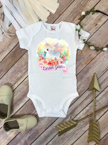 Baby Shower Gift, Unicorn Shirt, Personalized Baby Gift, Custom Baby Gift, Unicorn Bodysuit - Bella Lexi Boutique