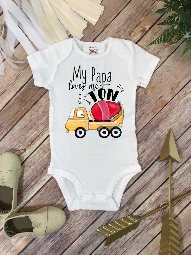 Grandpa shirt, My PAPA Loves me a Ton, Grandson Gift, Papa Baby Bodysuit, Cute Boy Clothes - Bella Lexi Boutique