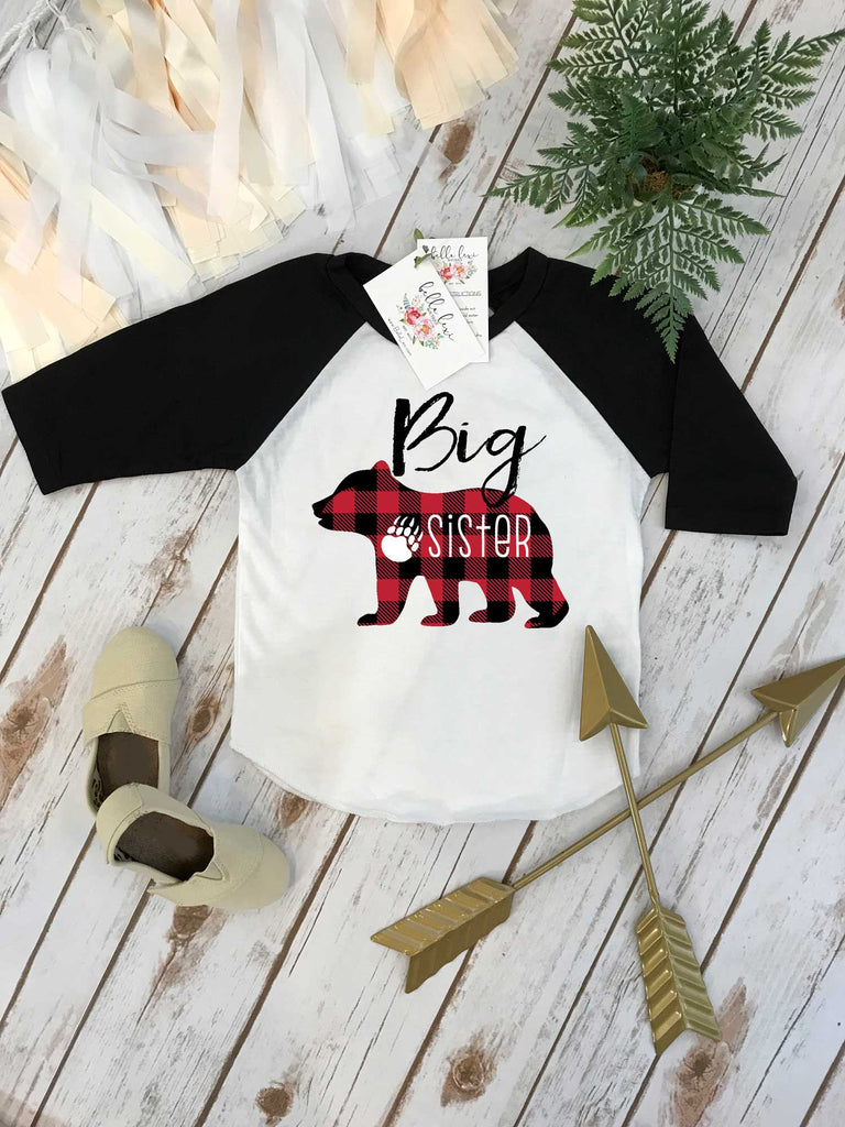 Big Sister Shirt, Buffalo Plaid Bear, Sisters Shirts, Big Sister Bear Shirt, Buffalo Plaid Shirt