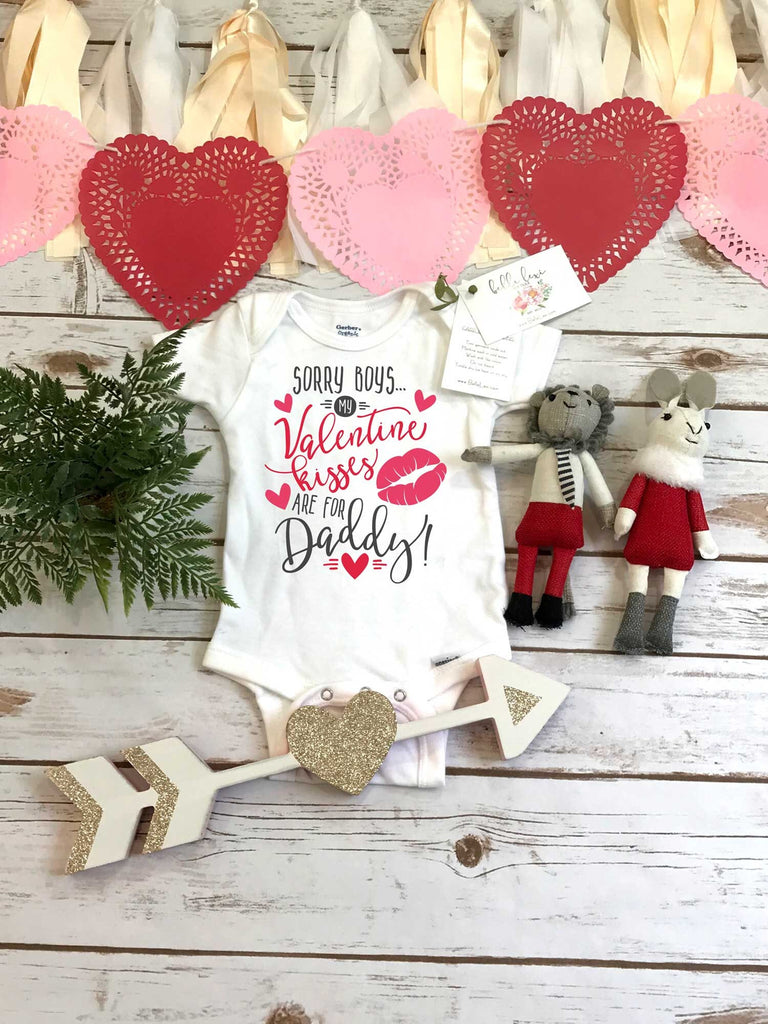 Valentine's Onesie®, Kisses for Daddy, First Valentines, Baby Valentine Shirt, Valentine Shirts