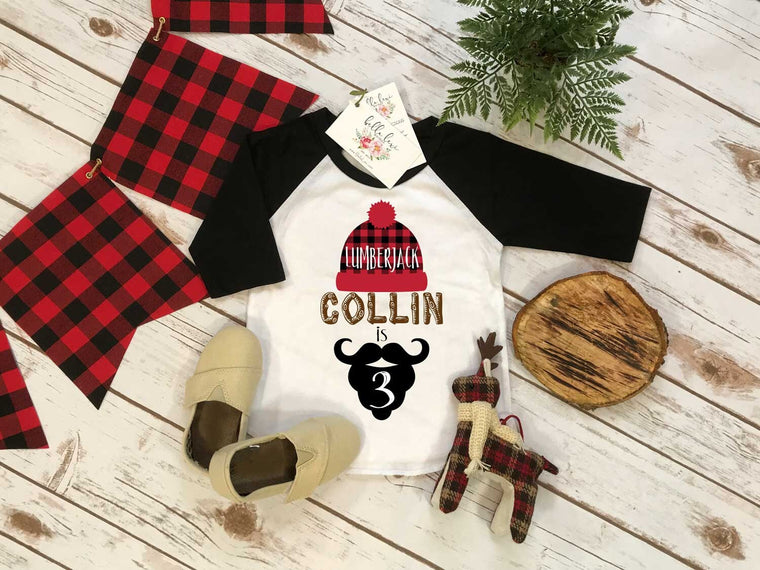 3rd Birthday Shirt, Lumberjack Birthday, Third Birthday shirt, Buffalo Plaid Party, Lumberjack Party