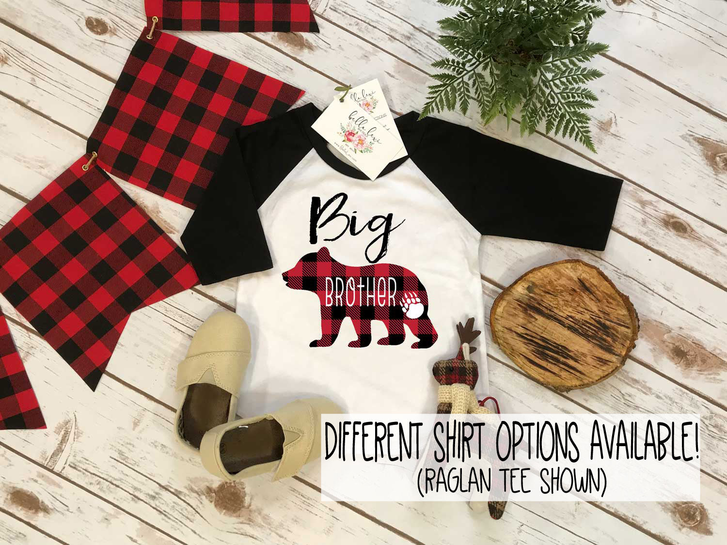 Big Brother Shirt, Buffalo Plaid Bear, Brothers Shirts, Big Brother Bear Shirt, Buffalo Plaid Shirt - Bella Lexi Boutique