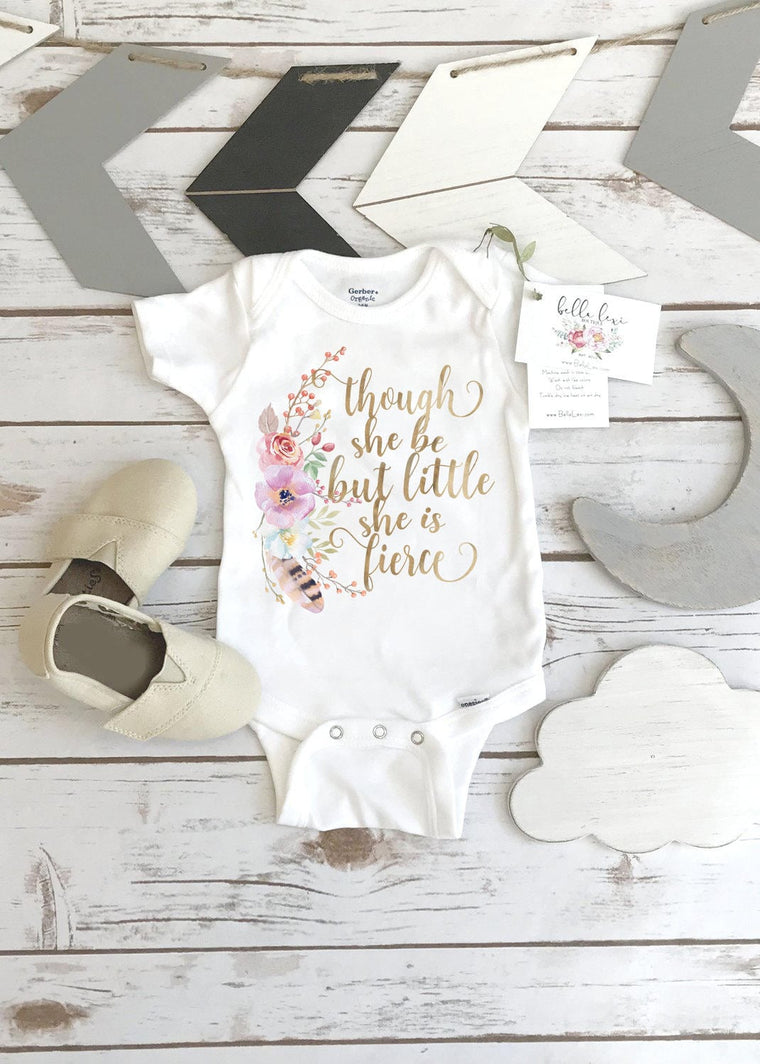 Though She Be But Little She Is Fierce, Baby Shower Gift, Boho Baby Clothes, Cute Baby Clothes, Baby Girl Clothes