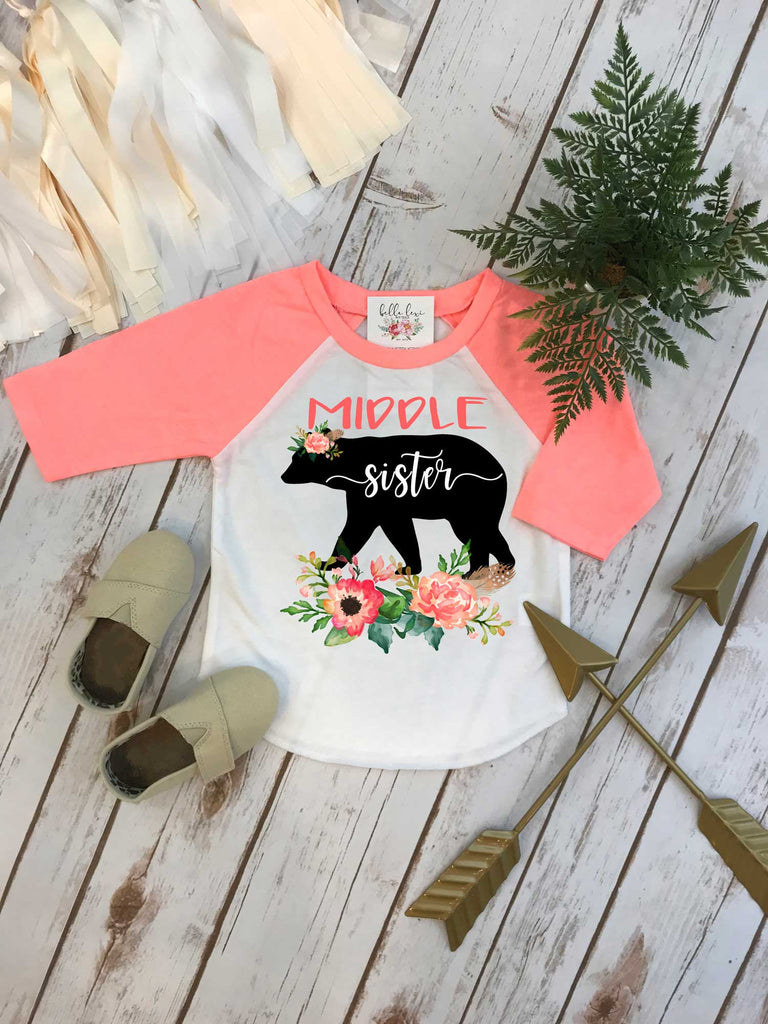 MIDDLE Sister Shirt, Floral Bear, Sisters Shirts, Sister Bear Shirt, Sister Shirt - Bella Lexi Boutique
