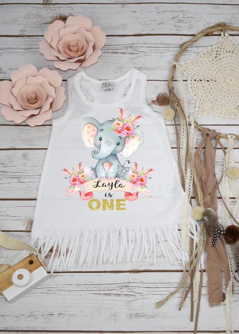 Boho Elephant Birthday, Boho Birthday Dress, First Birthday