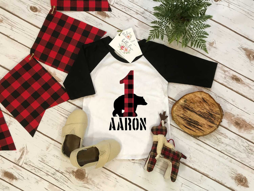 First Birthday Shirt, Lumberjack Birthday, Baby Boy Birthday shirt, Personalized Birthday Boy, Lumberjack Party