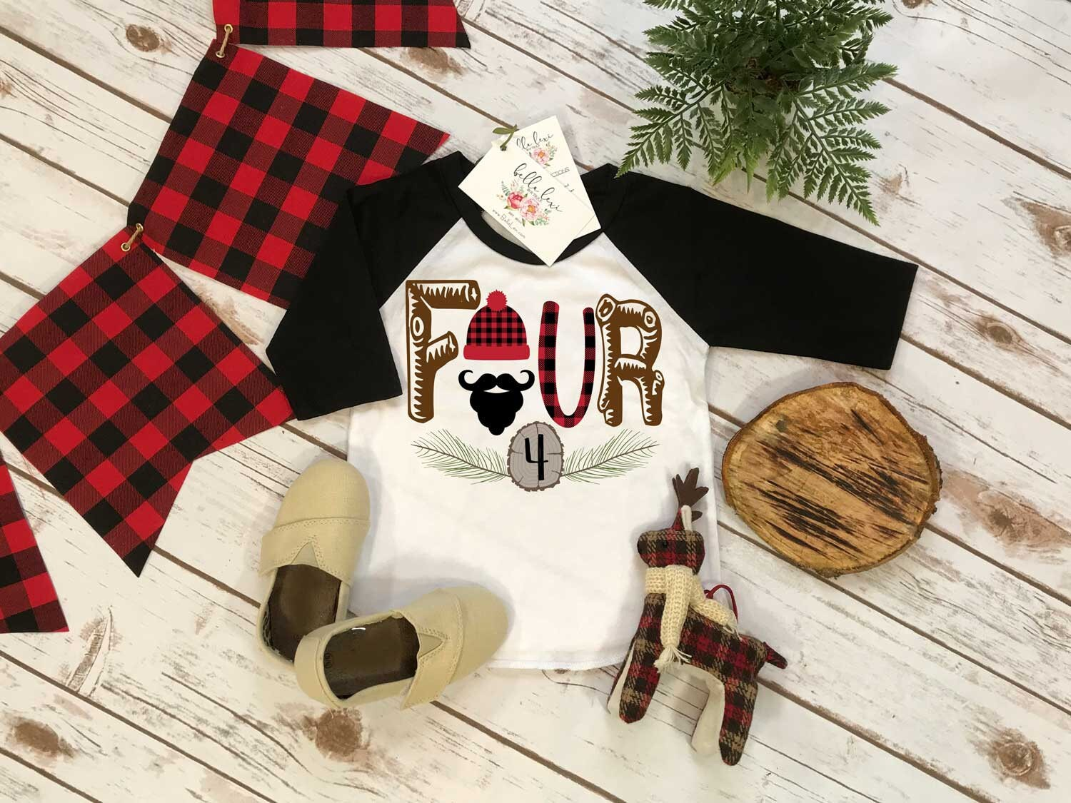 Fourth Birthday Shirt, Lumberjack Birthday, 4th Birthday shirt, Buffalo Plaid Party, Lumberjack Party