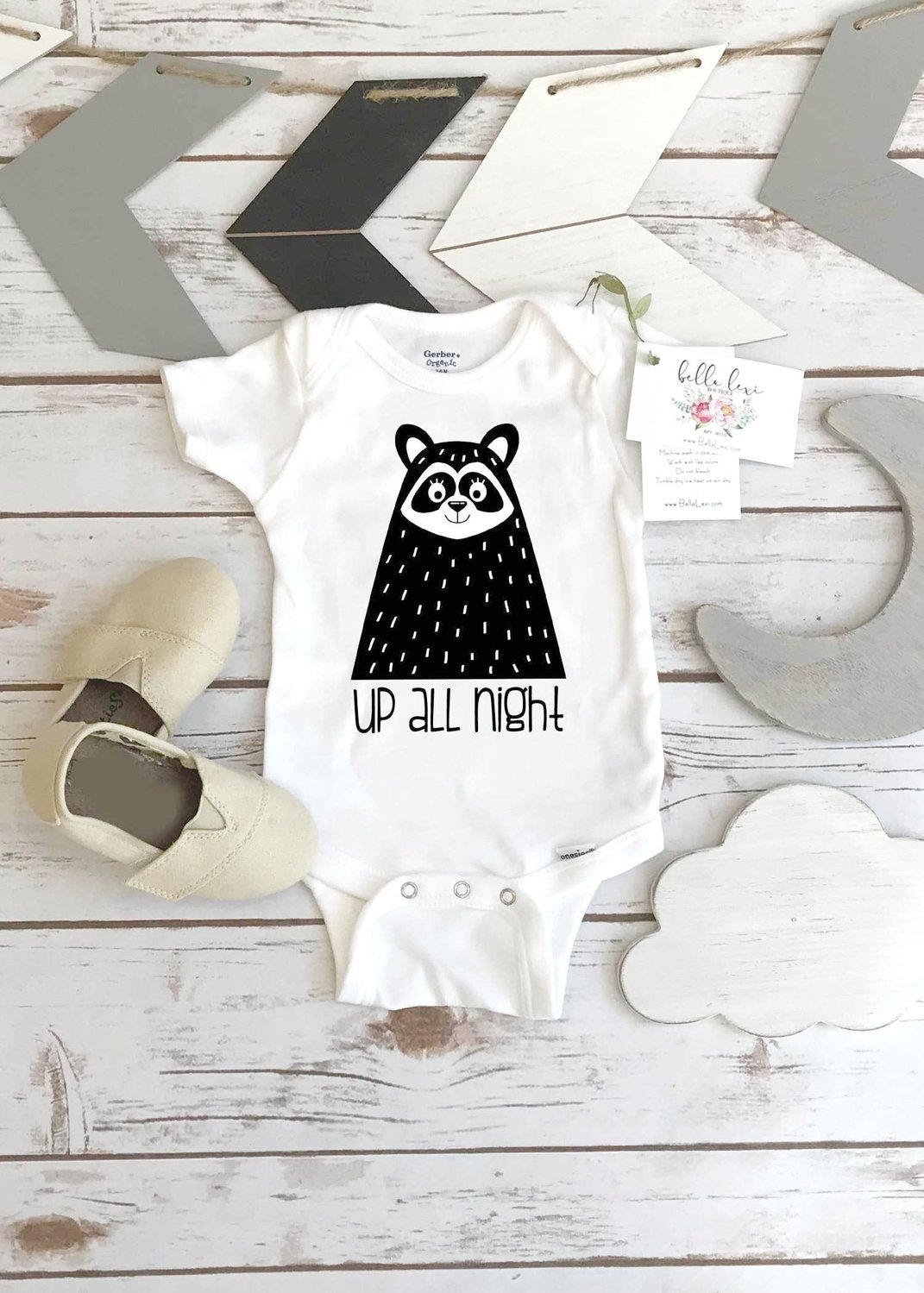 Monochrome Onesie®, UP ALL NIGHT, Black and White Onesie, Monochrome Nursery, Baby Shower Gift