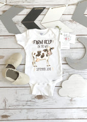 Farm Help on the Way, Pregnancy Announcement, Dairy Farm Baby, Pregnancy Reveal, Cow Onesie®