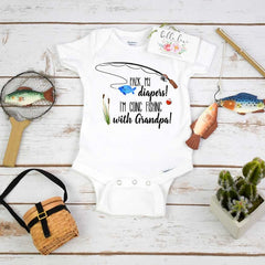 Fishing Onesie®,Pack My Diapers I'm going Fishing With Grandpa, Baby Shower Gift, Fishing Baby shirt,Fishing Buddy