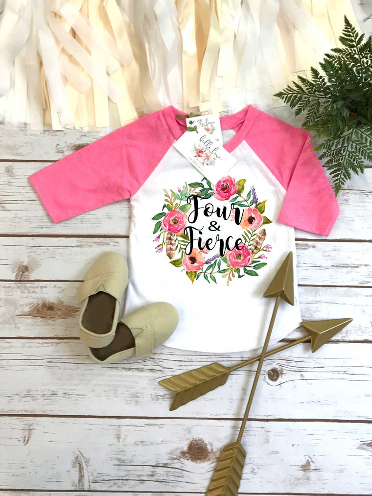 Fourth Birthday, FOUR and FIERCE, Girl Birthday RAGLAN, 4th Birthday, 4th Birthday Shirt