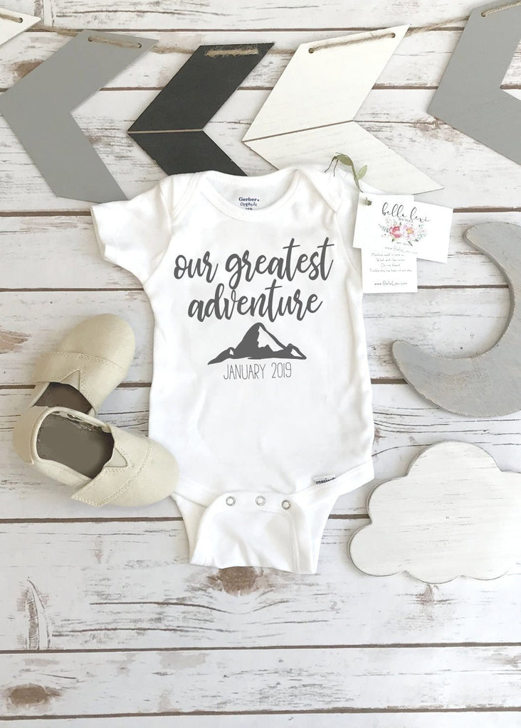 Baby Reveal Onesie®, Pregnancy Announcement, Our Greatest Adventure, Pregnancy Reveal, Baby Announcement