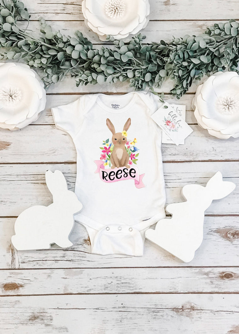 Baby's First Easter, Custom Easter Baby Shirt, Spring Bunny bodysuit, Personalized Easter,  Baby Shower Gift