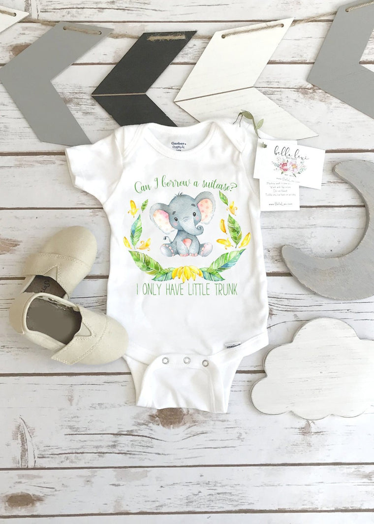 Baby Shower Gift, Cute Baby Gift, Little Trunk Elephant, Newborn Baby Gift, Elephant bodysuit