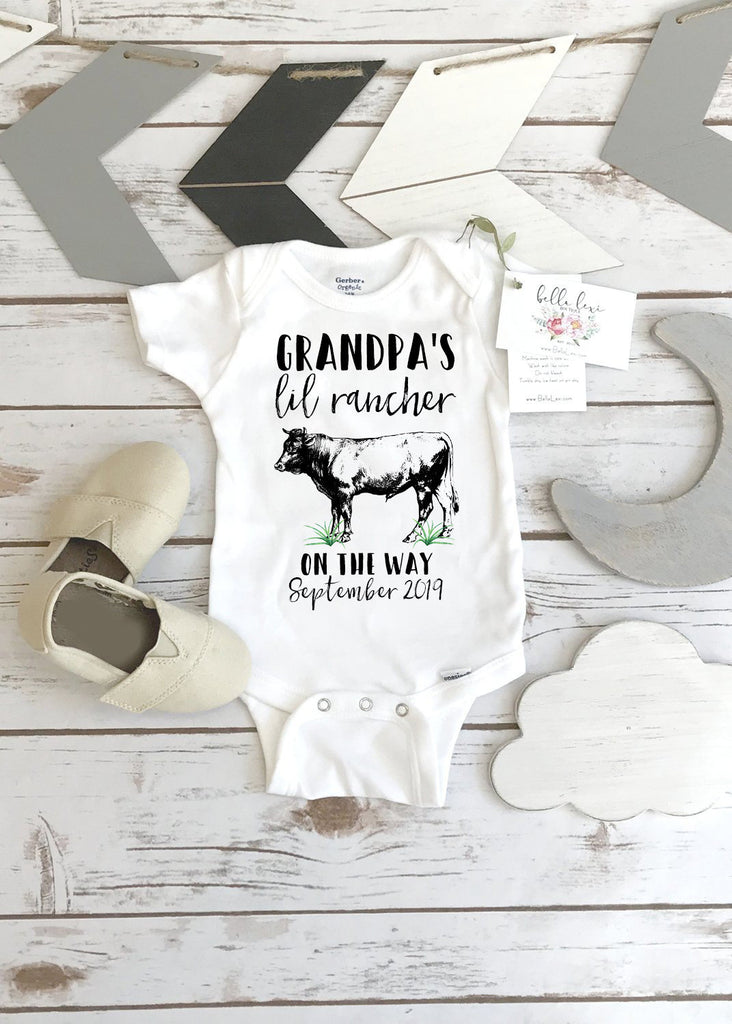 Farm Help on the Way, Pregnancy Announcement, Grandpa's Lil Rancher, Pregnancy Reveal, Cow Onesie®