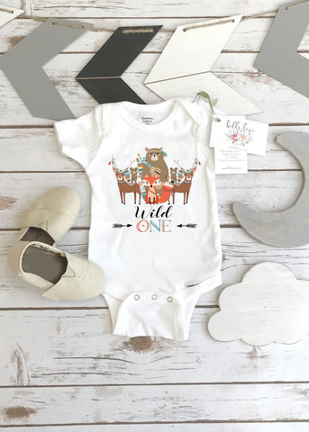 Wild One Onesie®, Woodland Birthday, Tribal Party, Woodland Animal Birthday, Woodland Party